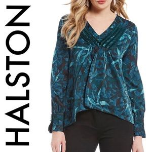 NWT H by Halston blouse teal | floral | Large